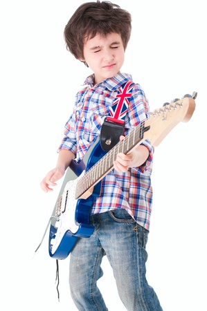 Little boy britpop style with electoguitar  eyes closed isolated on white photo