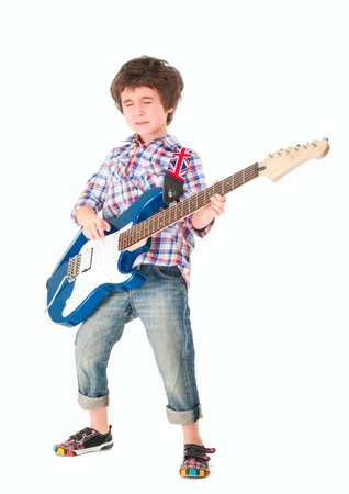 Little boy britpop style with electoguitar full body isolated on white photo