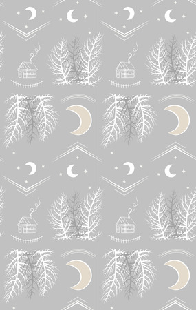 Night forest with county lodge and moon. pattern illustration. Illustration