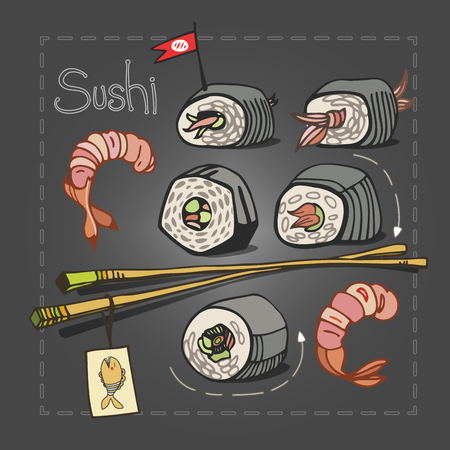 japanese cookery: Sushi set with chopsticks on gray graphite background.