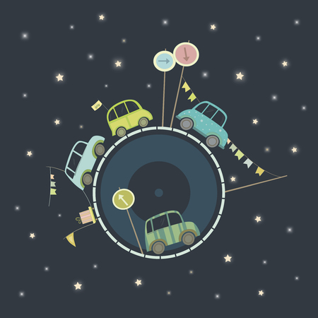 Vector illustration of cars in big space. Cars goes around the world.