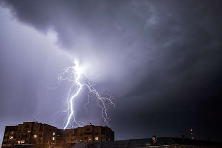 Bright lightning in the night sky