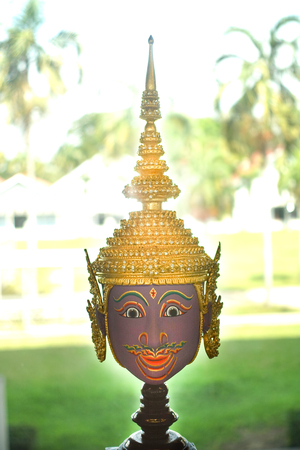 Thai ancient traditional mask or Hua Khon used in Khon performance (Khon is Thai traditional dance of the Ramayana Epic Saga)