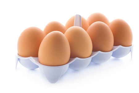 eggs in tray, isolated on a white background
