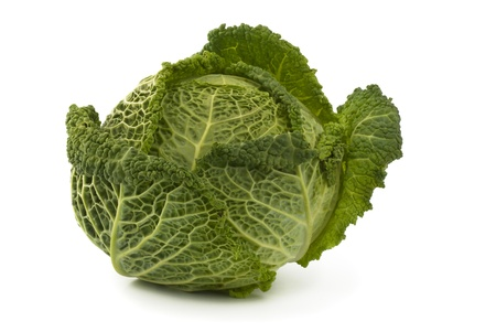 savoy cabbage, isolated on a white background Stock Photo