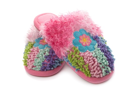 pink fluffy slippers, isolated on a white background