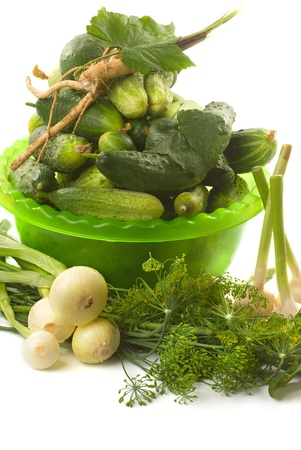 microelements: Fresh cucumbers, various vegetables, herbs and spices