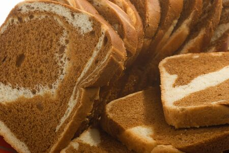 pieces of fresh sliced bread close up Stock Photo
