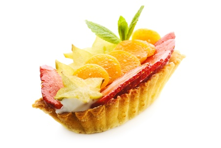 cake basket with fruits, isolated on a white background, isolated on a white background
