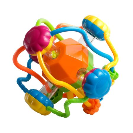 Colorful childrens plastic toys on a white background