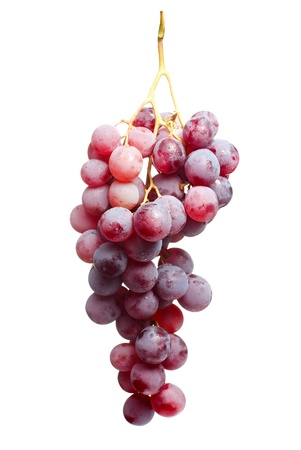 Tasty bunch of red grapes,isolated on white background