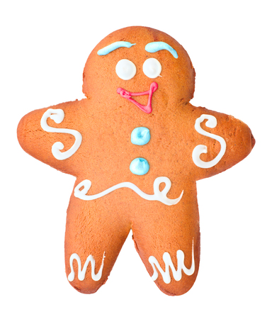 Gingerbread in the form of man, isolated on white background
