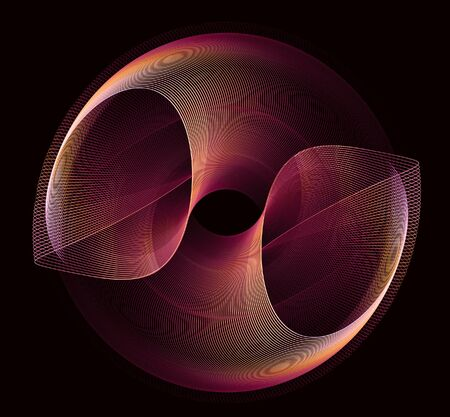 Abstract fractal round red-orange figure on a black background for design