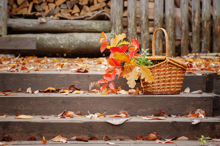 Basket with autumn leaves on the wooden background
