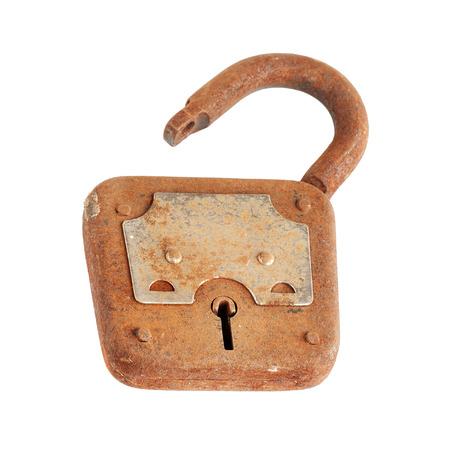 Old rusty padlock, isolated on white background