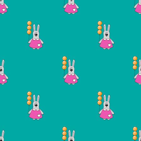 Cute bunny in pink dress with balloonon green background.Vector seamless background