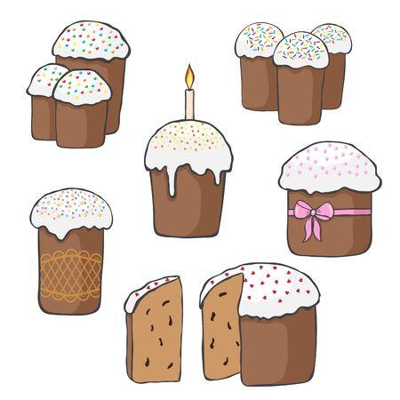Set of Easter cakes.Vector illustration for graphic design. Illustration