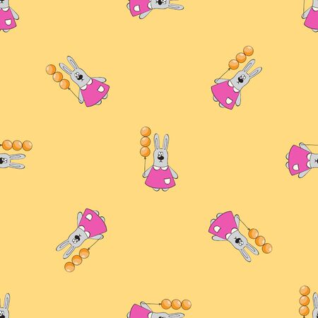 Cute bunny in pink dress with balloon On yellow background.Vector seamless background
