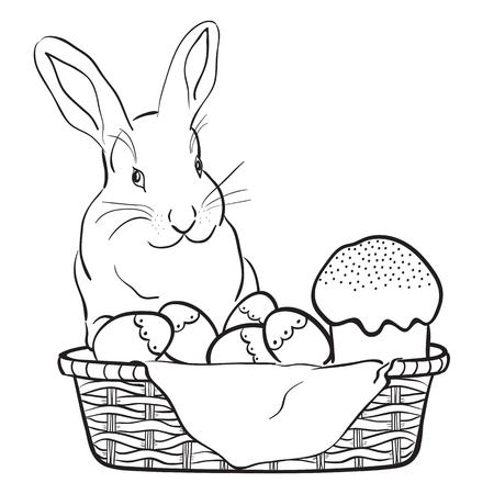 Easter rabbit, basket, eggs and cake.Black and white vector illustration. Illustration