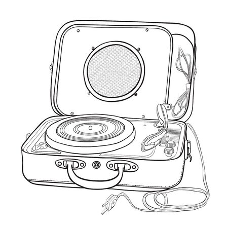 Turntable in a suitcase.Black and white vector illustration.