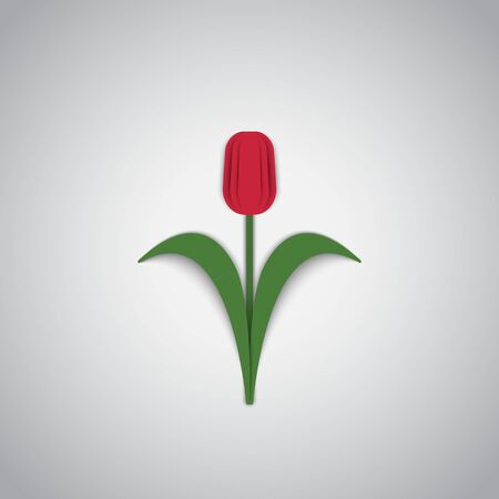 Red spring tulip flower on a light background.Paper style.Vector illustration.