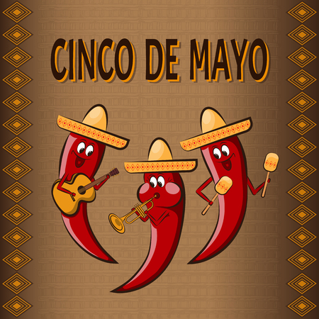 Celebratory background Cinco De Mayo, with three cartoon peppers, Playing on musical instruments and ornaments.