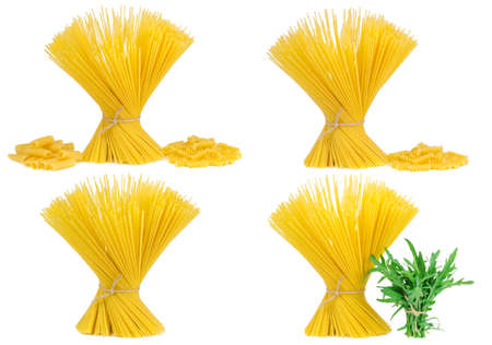 gamme de produit: assortment spaghetti pasta, isolated on a white background