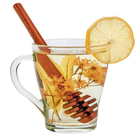 herbal tea with linden, honey and lemon isolated on a white background