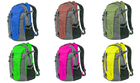 different colored backpack isolated on white background