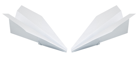 two paper plane isolated on a white background Stock Photo
