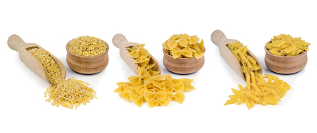 piped: three types of pasta isolated on white background Stock Photo