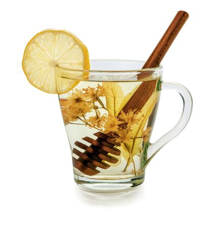cupping glass cupping: herbal tea with linden, honey and lemon isolated on a white background