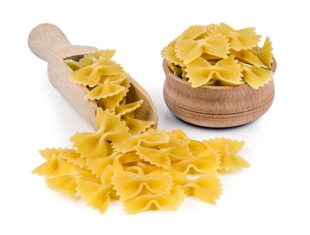 piped: pasta in bowl isolated on white background