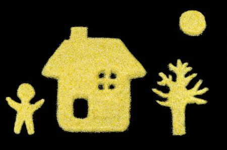 yellow trees: picture, home of the child, tree, sun isolated on a black background
