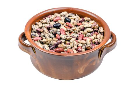 patchy: patchy beans in a pot isolated on white background