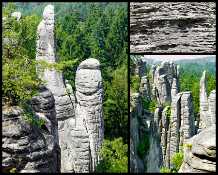 Collage-Prachovske rocks,in the Czech Republic   Czech paradise   Stock Photo