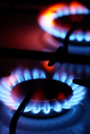 energetically: Flame from a gas stove  Stock Photo