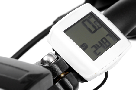 kilometres: Bicycle computer on the handlebars of a bicycle  Stock Photo