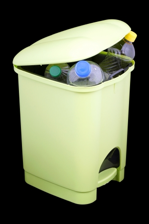 unneeded:  Bin full of plastic bottles  Stock Photo