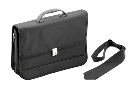 shoppe: Black briefcase laptop and documents with tie  Stock Photo