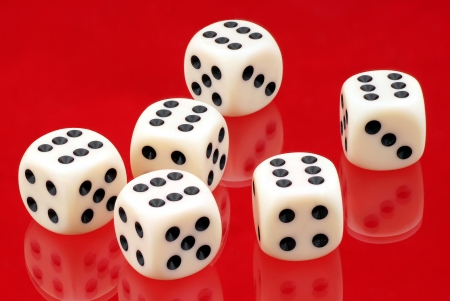 toyshop: Six dice  Stock Photo