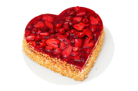 unhealthful: Fruit cake in the shape of heart  strawberry raspberry