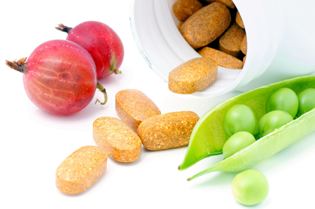 dietary: Vitamin and mineral supplement with fruits and vegetables -peas and gooseberries