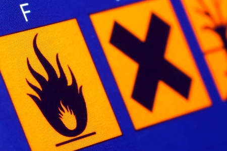 Warning signs on the product packaging- caution flammable,harmful substance