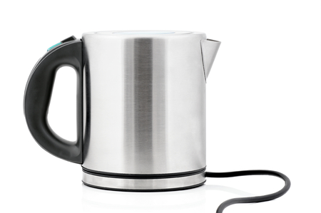 voltages: Stainless steel electric kettle isolated on white background