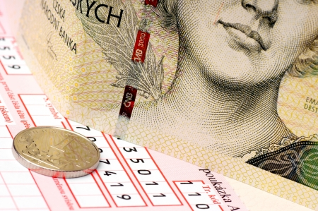 repayment: Postal slip and Czech money, two thousand and crown  Stock Photo