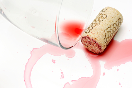 attentions: Spilled wine  Stock Photo
