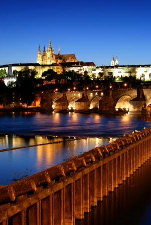 Evening view of Prague,Prague castle,Charles bridge  Czech Republic