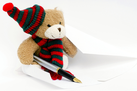 toyshop: Teddy bear who likes to write Stock Photo