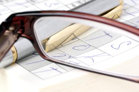 logically: Solving crosswords  Stock Photo